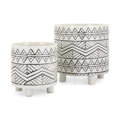 """8"""" L x 8"""" W x 8"""" H Black and White Ceramic Planters with Tiny Legs and Bohemian Details (Set of 2)"""