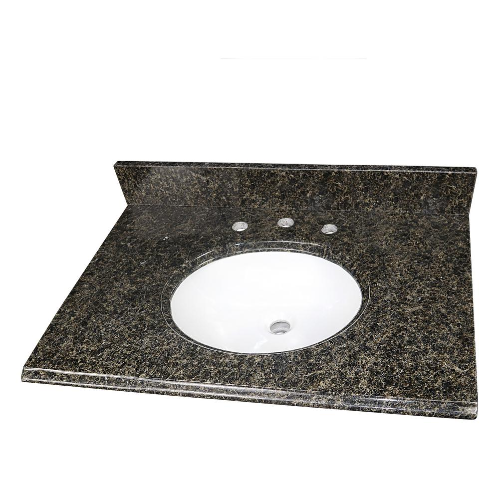 Home Decorators Collection 31 in. W x 22 in. D Granite Single Oval Basin Vanity Top in Uba Tuba with 8 in. Faucet Spread and White Basin was $324.0 now $226.8 (30.0% off)