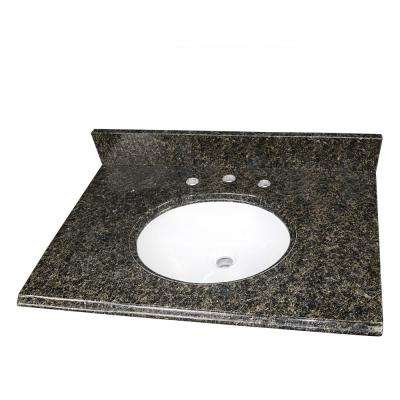 31 in. W x 22 in. D Granite Single Oval Basin Vanity Top in Uba Tuba with 8 in. Faucet Spread and White Basin