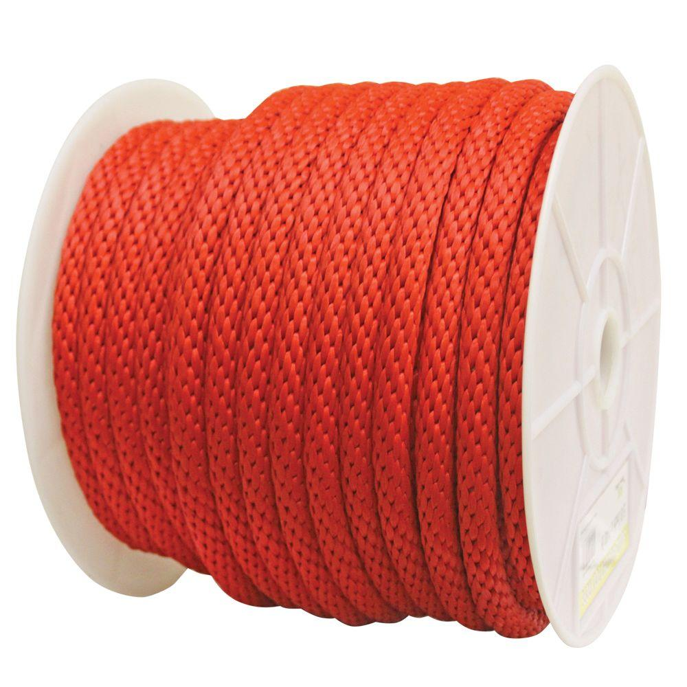 Rope King 5 8 In X 140 Ft Solid Braided Poly Rope Red