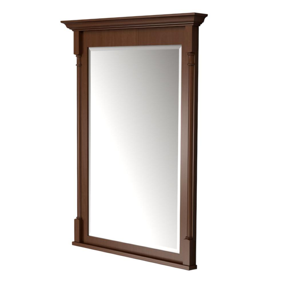 KraftMaid 42 in. L x30 in. W Framed Wall Mirror in Autumn Blush Stain