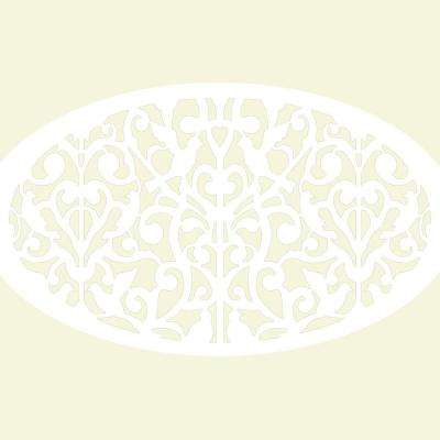 1/4 in. x 27 in. x 3-5/6 ft. White Vinyl Oval Ginger Dove Decor Panel