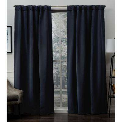 Sateen 52 in. W x 96 in. L Woven Blackout Hidden Tab Top Curtain Panel in Peacoat Blue (2 Panels)