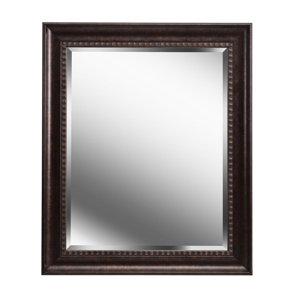 Medium Rectangle Brown Beveled Glass Modern Mirror (36 in. H x 30 in. W)
