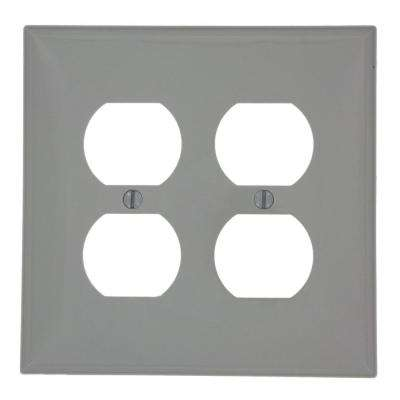 2-Gang 2 Duplex Receptacles, Midway Size Nylon Wall Plate - Gray