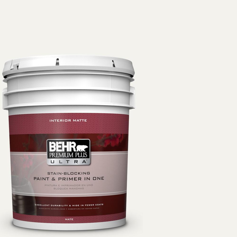 5 gal. #PR-W14 Bit of Sugar Matte Interior Paint and Primer