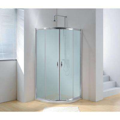 40 in. x 79 in. Framed Sliding Shower Enclosure in Bright Chrome with Handle