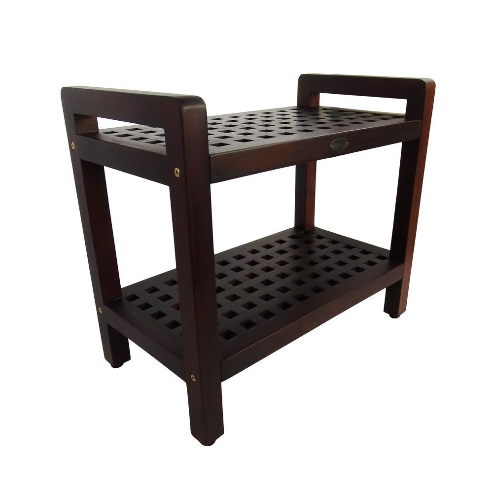 DecoTeak Espalier 24 in. Teak Lattice Shower Bench with Shelf And LiftAide Arms