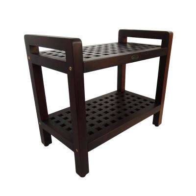 Espalier 24 in. Teak Lattice Shower Bench with Shelf And LiftAide Arms