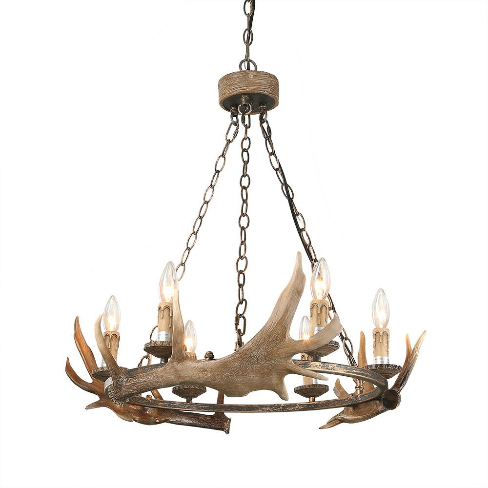 LNC 6-Light Brown Antler Pendant
