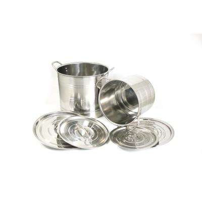 6-Piece Stainless Stock Stock Pot Set with Steamer Inserts and Lids