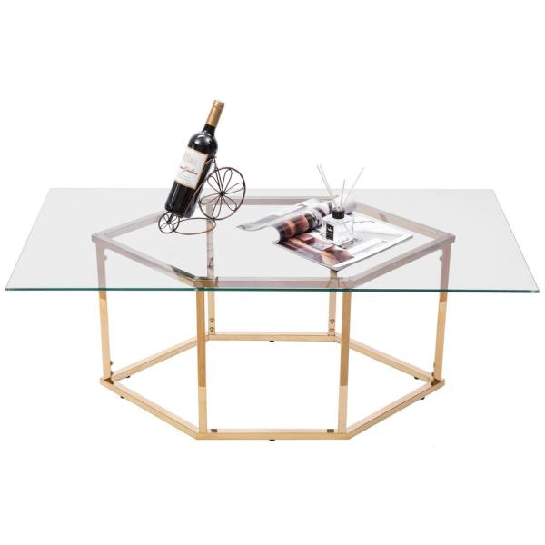 Rectangular Glass Top Hexagon Gold Stainless Steel Metal Base Coffee Table