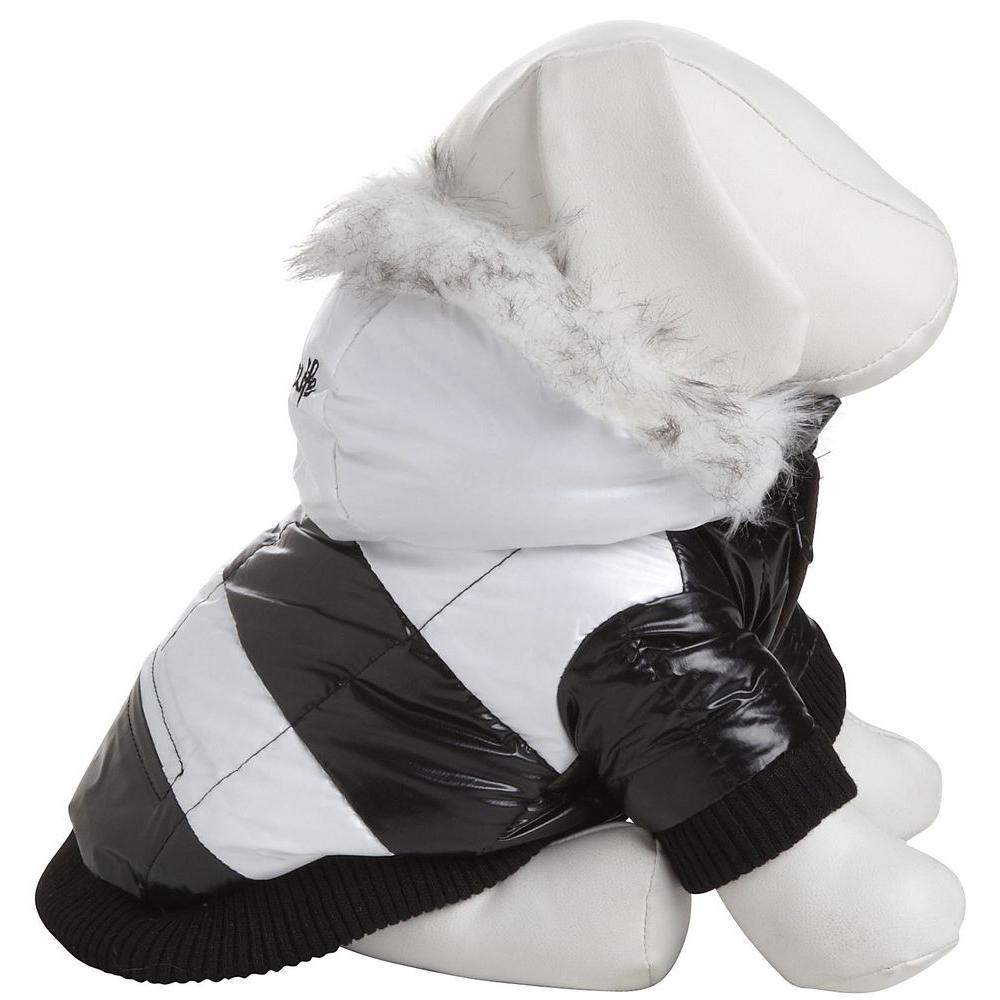 PET LIFE Large Black and White Striped Fashion Parka with Removable Hood