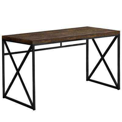 Jasmine 1-Piece Brown and Black Computer Desk