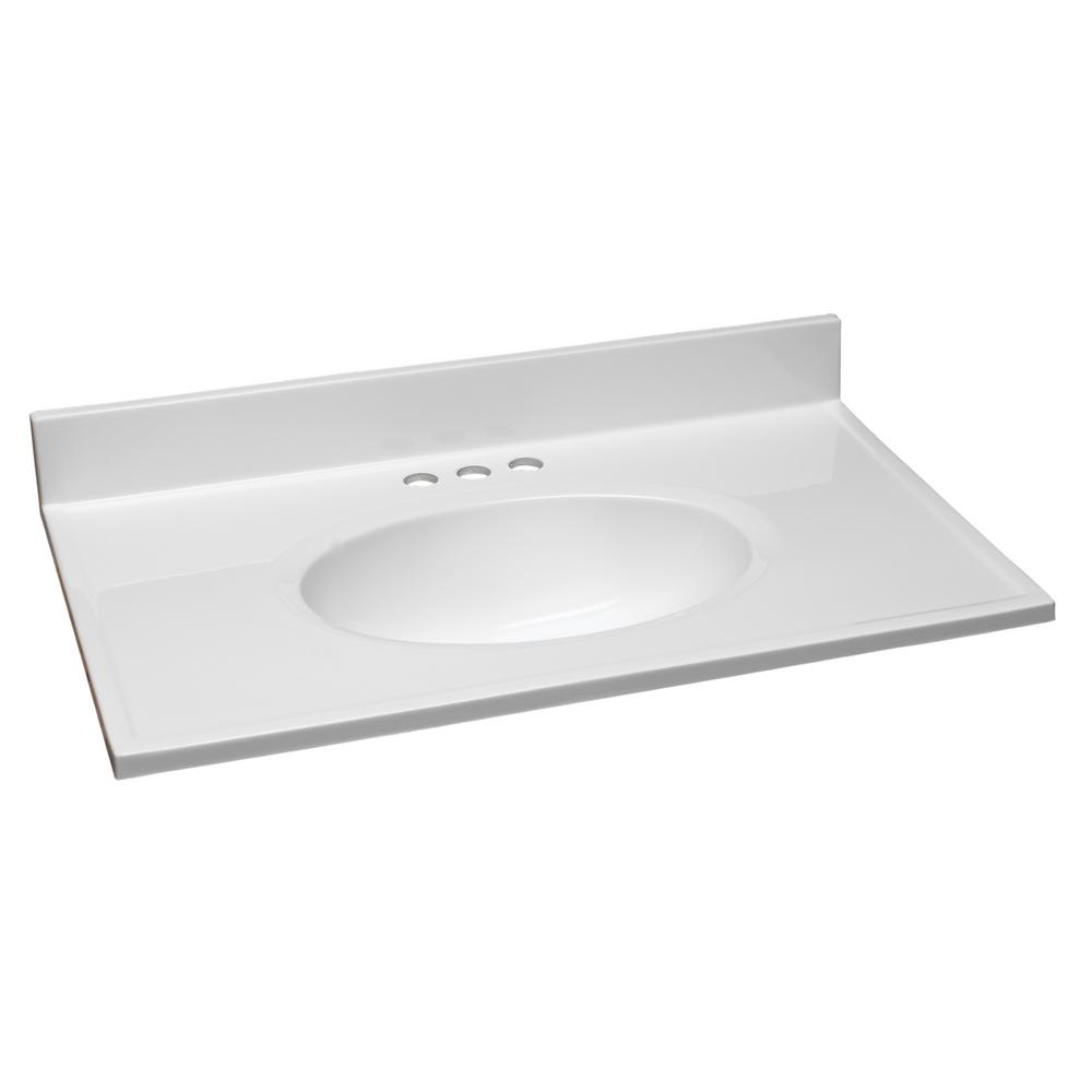 Design house 31 in w cultured marble vanity top in white with solid white bowl 551333 the - Cultured marble bathroom vanity tops ...