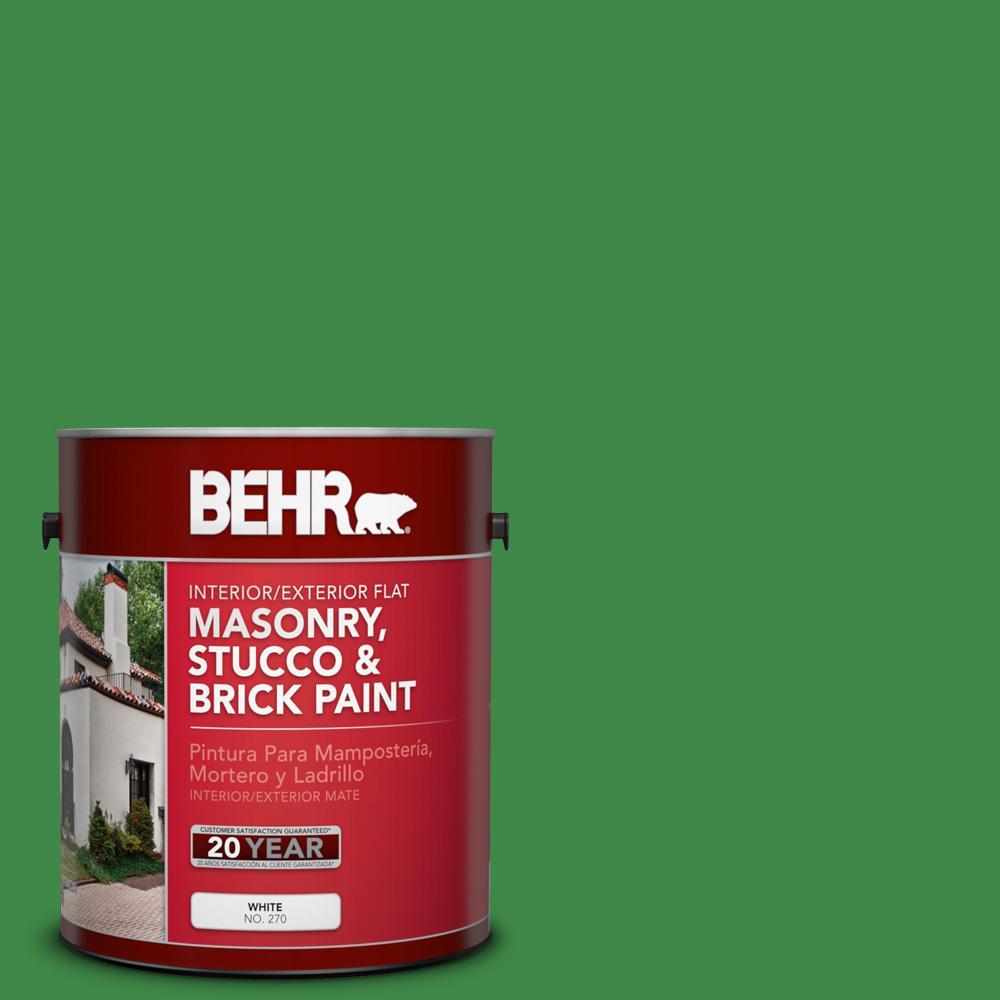 1 gal. #P400-7 Paradise of Greenery Flat Interior/Exterior Masonry, Stucco and Brick Paint