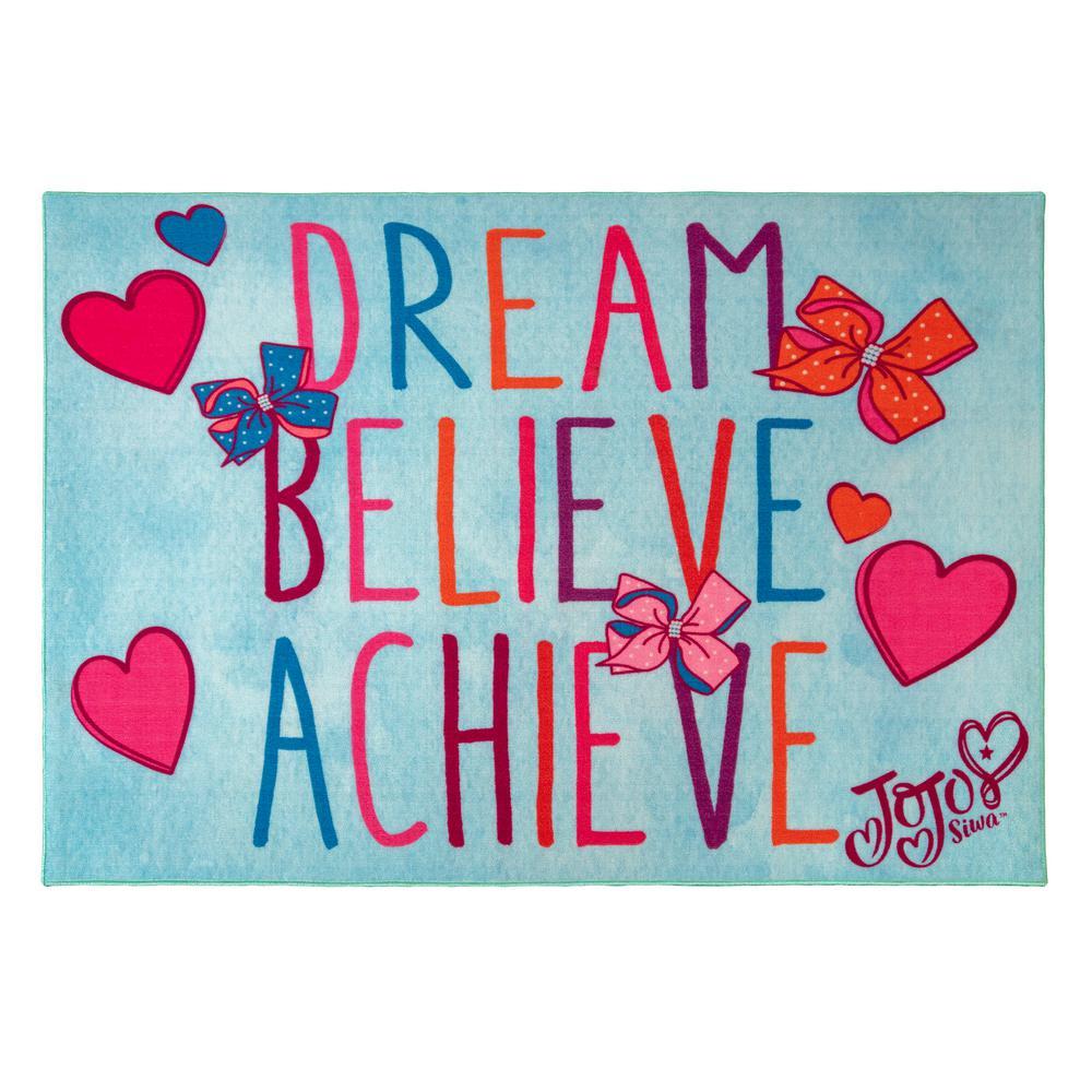 JoJo Dream, Believe, Achieve Multi-Colored 5 ft. x 7 ft. Indoor Juvenile Area Rug