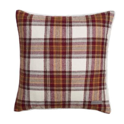 Cabin Plaid Collection Brown Geometric Polyester 20 in. x 20 in. Throw Pillow