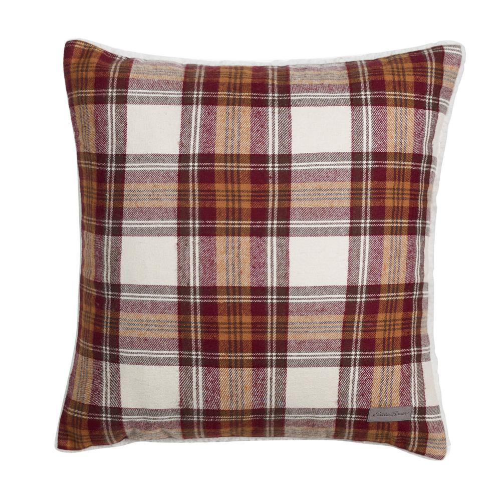 Edgewood 20 in. x 20 in. Brown Square Pillow