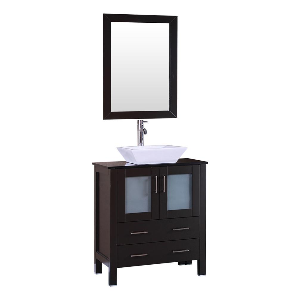 Bosconi 30 in. W Single Bath Vanity with Tempered Glass Vanity Top in Black with White Basin and Mirror