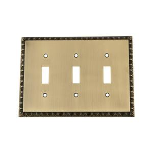Nostalgic Warehouse Egg and Dart Switch Plate with Triple Toggle in Antique... by Nostalgic Warehouse