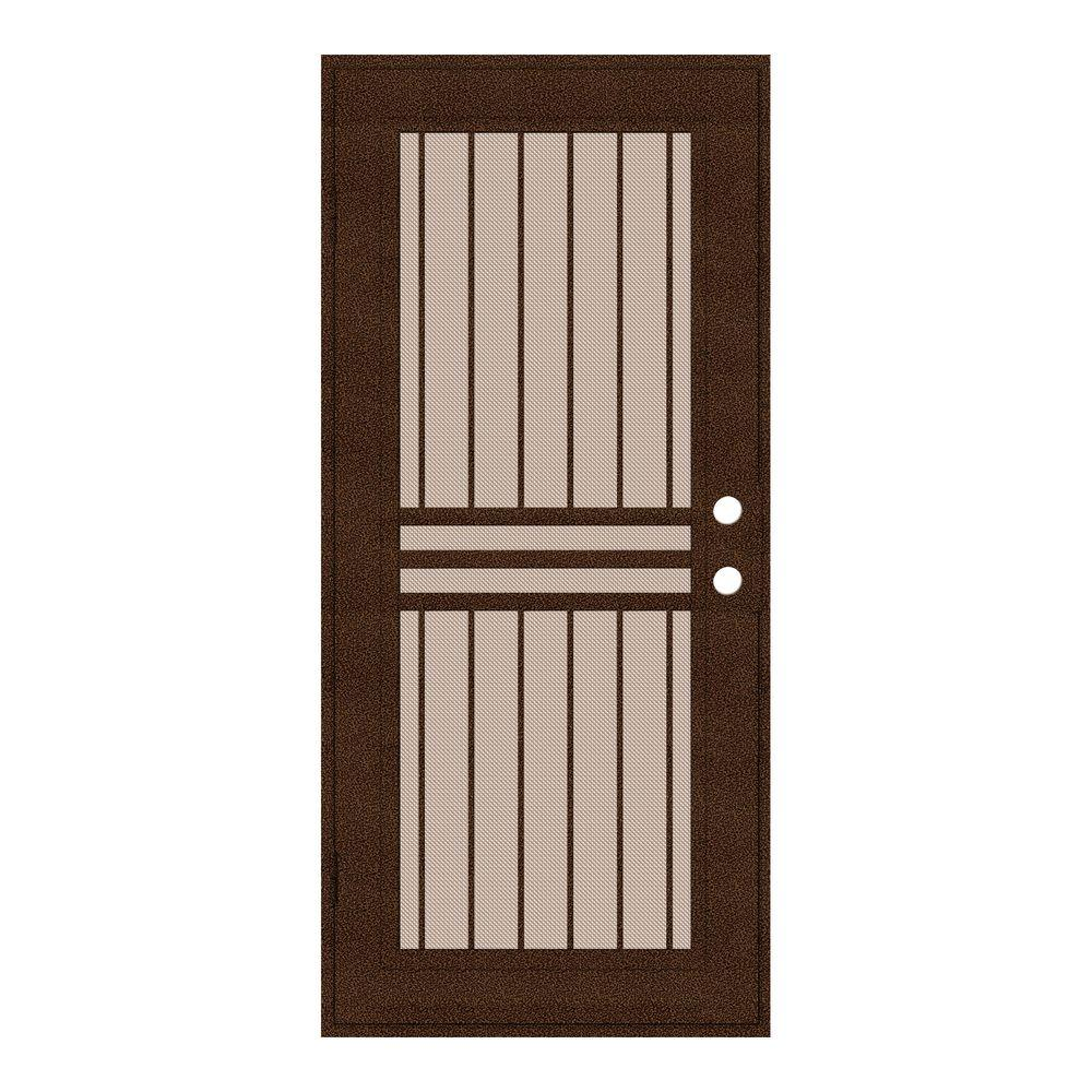 Unique Home Designs 32 in. x 80 in. Plain Bar Copperclad Left-Hand Surface Mount Aluminum Security Door with Desert Sand Perforated Screen