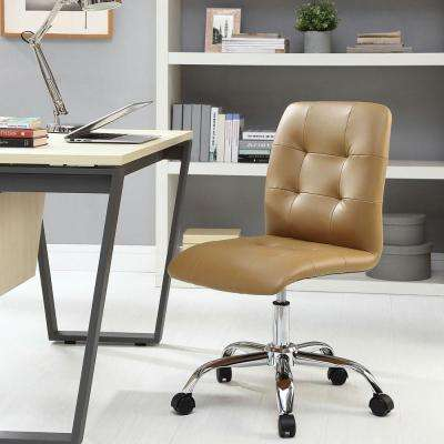 Prim Armless Mid Back Office Chair In Tan