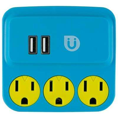 3 Grounded Outlet and 2-USB Port, 2.1 Amp Tap, Blue and Yellow