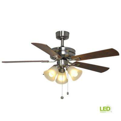 Sinclair 44 in. LED Indoor Brushed Nickel Ceiling Fan with Light Kit