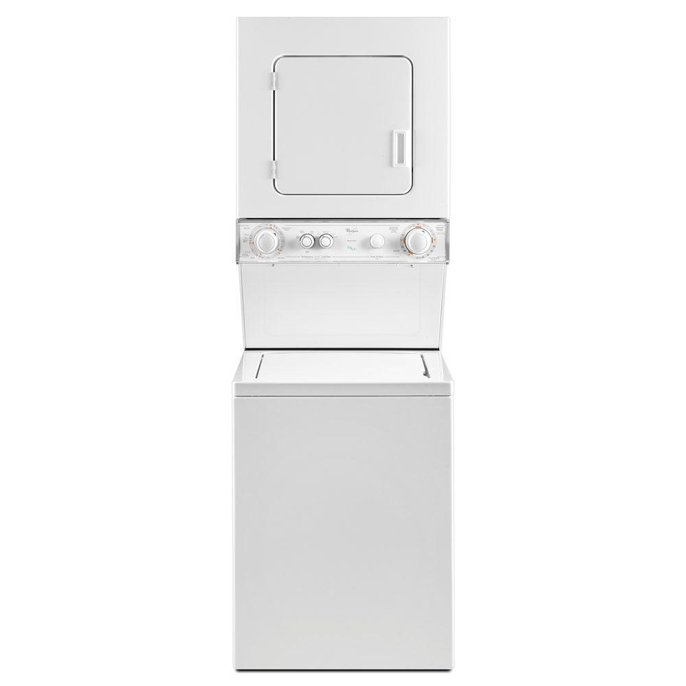 Whirlpool White Thin Twin Laundry Center with 1.5 cu. ft. Washer and 3.4 cu. ft. Electric Vented Dryer