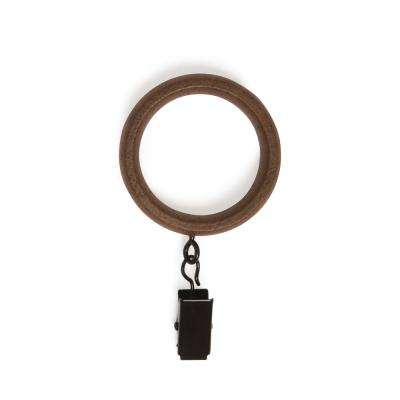 1 in. Large Wood Clip Rings in Walnut (7-Piece)