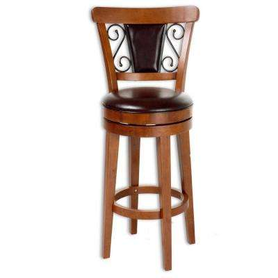 30 in. Trenton Wood Bar Stool with Brown Upholstered Swivel-Seat and Nutmeg Frame Finish