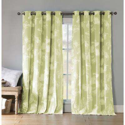 Aster 84 in. L Polycotton Grommet Panel in Bright Green (2-Pack)