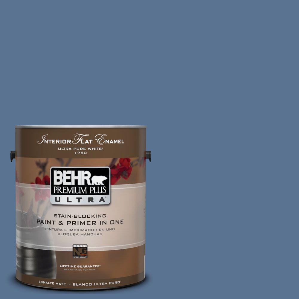 BEHR Premium Plus Ultra 1-Gal. #UL240-19 Laguna Blue Interior Flat Enamel Paint