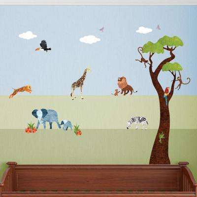 Safari Animals Multi Peel and Stick Removable Wall Decals Jungle Theme Mural (25-Piece Set)