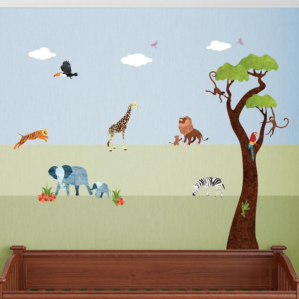 Attractive Safari Animals Multi Peel And Stick Removable Wall Decals Jungle Theme  Mural (25 Piece