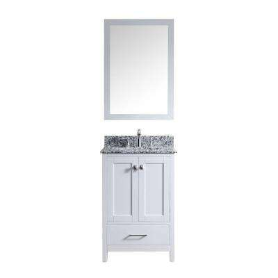 Caroline Madison 24 in. Vanity in White with Granite Vanity Top in Arctic White with White Round Basin and Mirror