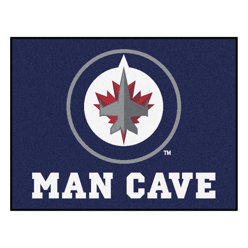 Winnipeg Jets Blue Man Cave 3 ft. x 4 ft. Area Rug