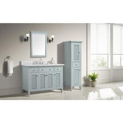 Fallworth 49 in. W x 22 in. D Bath Vanity in Light Green with Marble Vanity Top in Carrara White with White Basin