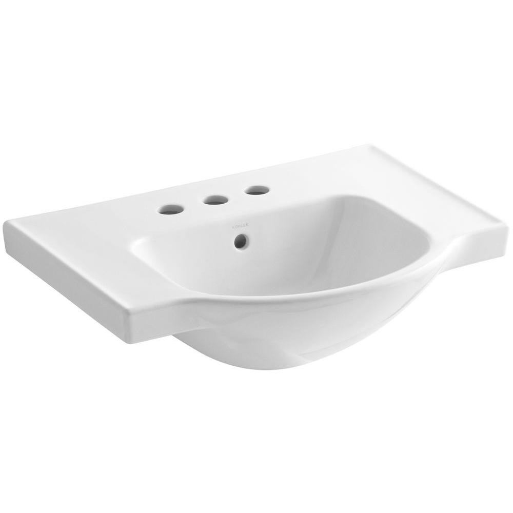 Veer 24 in. Vitreous China Pedestal Sink Basin in White with