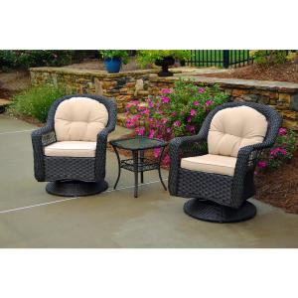 Biloxi Espresso Resin 3-Piece Wicker Outdoor Bistro Set with Beige Cushions