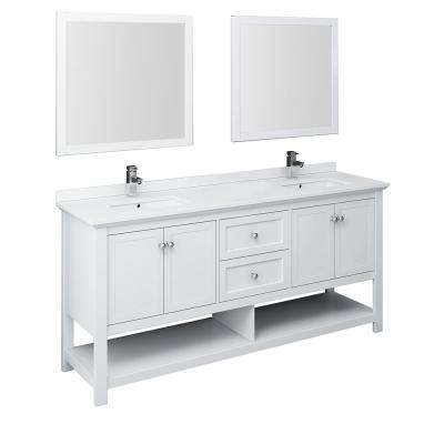 Manchester 72 in. W Bathroom Double Bowl Vanity in White with Quartz Stone Vanity Top in White with White Basins,Mirrors
