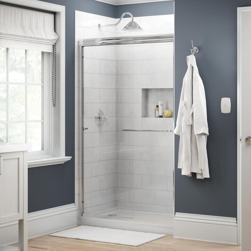 Delta Simplicity 48 In X 70 Semi Frameless Traditional Sliding Shower Door Chrome With Clear Gl 2421816 The Home Depot