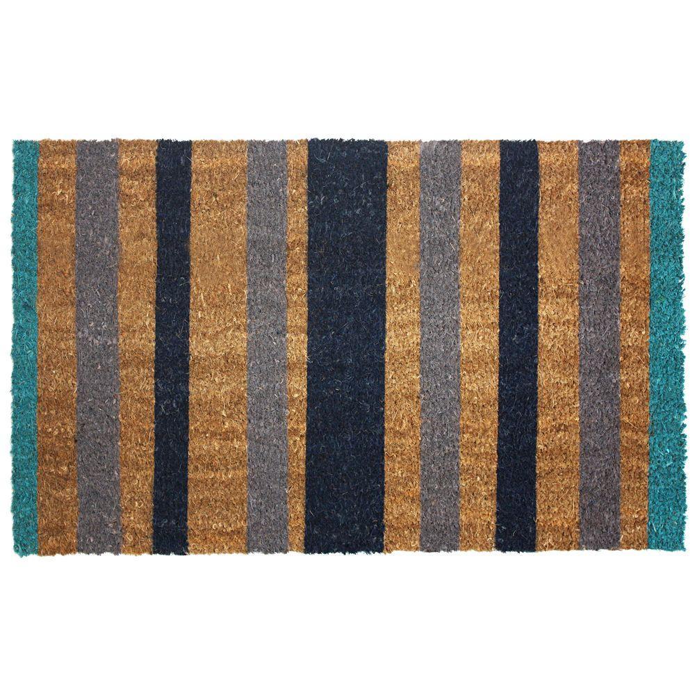 Attirant J U0026 M Home Fashions Blue Stripes 18 In. X 30 In. Vinyl Back