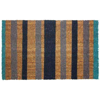 Blue Stripes 18 in. x 30 in. Vinyl Back Coco Door Mat