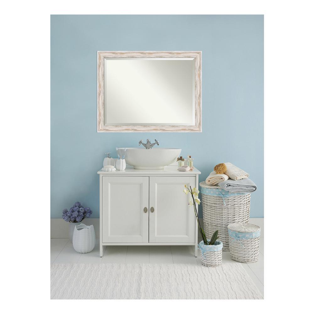 Alexandria Distressed Whitewash Wood 45 in. W x 33 in. H Single Bathroom Vanity Mirror