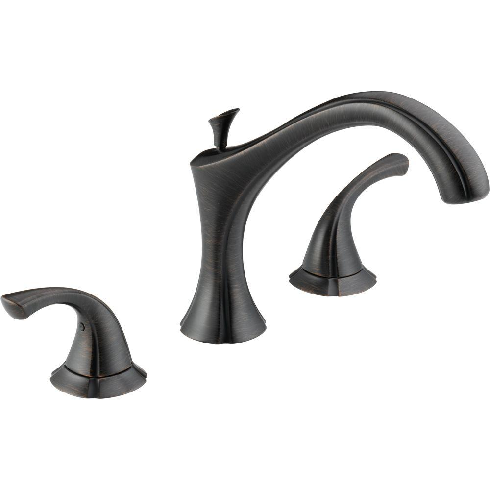 Delta Addison 2-Handle Deck-Mount Roman Tub Faucet Trim Kit Only in Venetian Bronze (Valve Not Included)