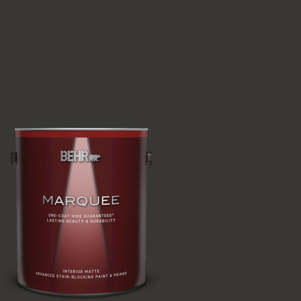 Behr Marquee 1 Gal Black One Coat Hide Matte Interior Paint And Primer In