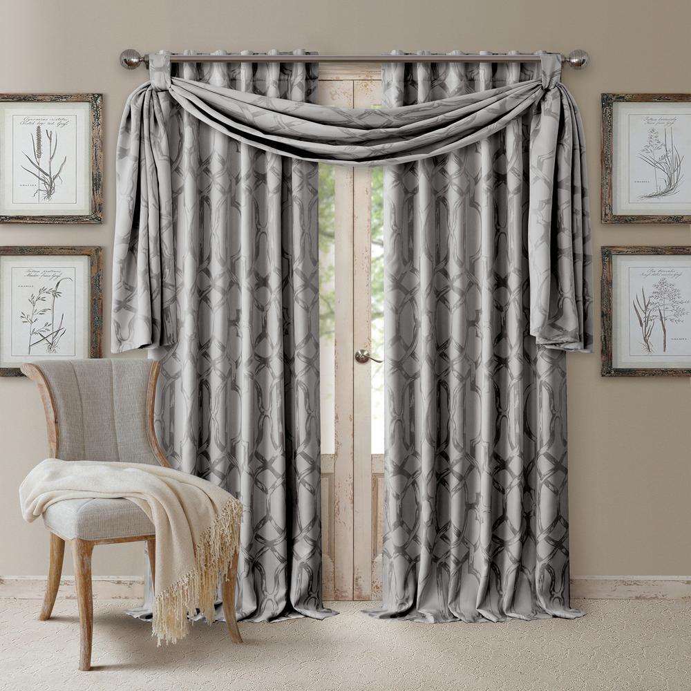Darla Light Gray Polyester Single Blackout Window Curtain Panel - 52 in. W x 95 in. L