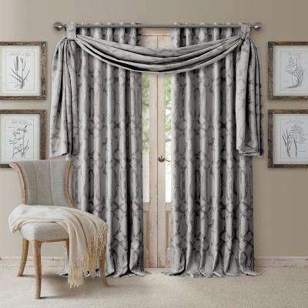 Darla Light Gray Polyester Single Blackout Window Curtain Panel